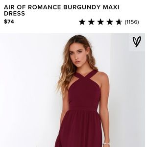 Lulu's Air of Romance Burgundy Maxi Dress